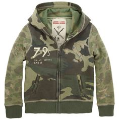 Camouflage fleece jacket with a lined hood. Full zip on the front and side pockets. Baby Kids Wear, Camouflage Jacket, Fleece Hoodie, Boys T Shirts, Vest Jacket, Baby Boy Outfits, Boy Fashion, Swat, Campsite