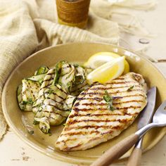 The bright flavors of lemon, fresh oregano, and fresh mint make this easy grilled chicken cutlet recipe the perfect option for a hot summer evening. Recipe: Lemon-Oregano Chicken Cutlets with Mint Zucchini   - CountryLiving.com