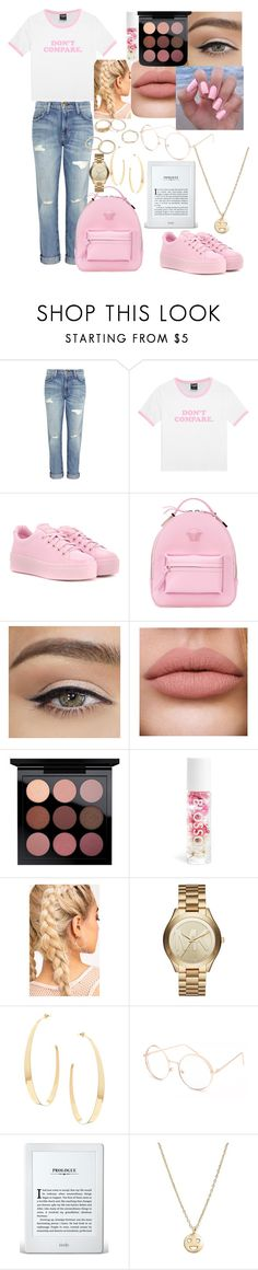 """""""Don't Care. Don't Compare."""" by officialprincess101 ❤ liked on Polyvore featuring Current/Elliott, Kenzo, Versace, Blossom, Michael Kors, Lana, Full Tilt and Bing Bang"""