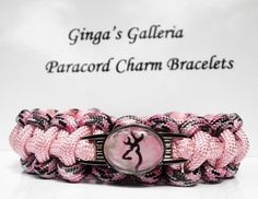 Sneaky Pink Camo Browning Buck/Deer Cobra Paracord Bracelet with Image | gingasgalleria - Jewelry on ArtFire