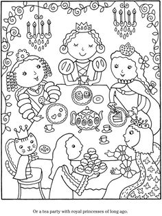 color cook tea party coloring book pages - Princess Tea Party Coloring Pages