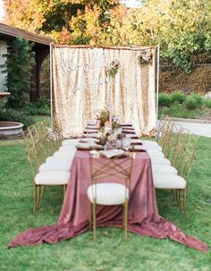 Feminine Al Fresco Dinner Party With A Late Summer Feel - Wilkie: Gold backdrops are the perfect spot for a photo at a party or wedding!