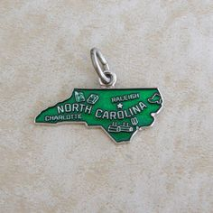 North Carolina Green Metallic Enamel State Map Sterling Silver Souvenir Travel Bracelet Charm by Charmcrazey on Etsy