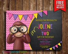*Curious George Girl birthday party photo invitation - customized with your photo and party information!*    By purchasing this listing you