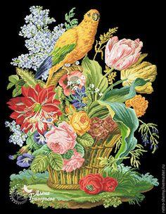 Купить или заказать Схема вышивки 'Попугай на цветочной корзине' в интернет-магазине на Ярмарке Мастеров. Авторская реконструкция старинной схемы для вышивания крестом из книги Raffaella Serena 'Vienna Embroidery'. К схеме прилагается ключ в цветовой палитре ниток DMC, а также возможные размеры готовой вышивки на 14, 16, 18 и 25 канве. Схема в электронном виде, в формате PDF. Можно заказать цветной или черно-белый вариант схемы по вашему желанию, или оба варианта. Схема высылается…
