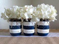 Nautical Baby Shower Centerpiece, Navy Blue and White Stripes Distressed Mason Jar, Nautical Mason Jars, Rustic Home Dec