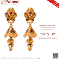 Gold Mangalsutra Designs, Gold Earrings Designs, Gold Jewellery Design, Gold Jewelry, Gold Jhumka Earrings, Gold Bridal Earrings, Clothing, Gold Jewellery, Gold Bridal Jewellery