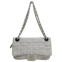 14c178a2637d Chanel Classic Flap Quilted Chocolate Bar 868985 Gray Canvas Shoulder Bag.  1stdibs.com
