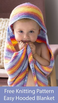 Free Knitting Pattern for Easy Rainbow Hooded Afghan Free Knitting Pattern for Rainbow Hooded Afghan - Baby blanket with cozy hood knit diagonally in garter stitch by increa. Baby Knitting Patterns, Free Baby Blanket Patterns, Baby Patterns, Sweater Patterns, Knitted Afghans, Knitted Baby Blankets, Easy Knitting, Knitting For Beginners, Handarbeit
