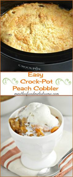 Easy Crock-Pot Peach Cobbler -- This easy dessert recipe uses just 3 ingredients and is made in the slow cooker. Also known as dump cake.