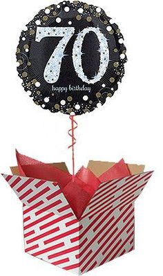 Gold and Black Birthday Balloon Gift. The balloon is sent already inflated with helium in a large red and white candy stripe box. We can deliver your balloon gift to any UK address. Gifts For 18th Birthday, Unusual Birthday Gifts, 70th Birthday, Birthday Celebration, 60th Birthday Balloons, Balloon Gift, Balloon Box, Birthday Wishes And Images, 30th