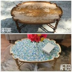 40 coffee table got a bright new look, painted furniture, 1 In the before photo you can see the previous owner left drinking glasses on the table which left some pretty ugly water warps I did my best to sand it down but wasn t able to get a completely flat surface