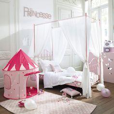 Cama con dosel infantil 90 × 190 cm de metal rosa Eglantine | Maisons du Monde
