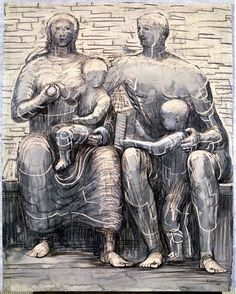 Family Group by Henry Moore Try gesso and charcoal Sword Drawing, Figure Drawing, Henry Moore Drawings, Henry Moore Sculptures, Birth Art, Art Postal, Art Of Fighting, Contour Drawing, Action Painting