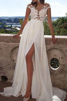 Ivory Lace Front Slit See Through Cap Sleeves Custom Made Beach Wedding Dresses OK273