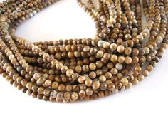 Natural Picture Jasper Stone Beads Strands by BonjourHandmadeDIY