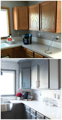 A builder grade kitchen gets a new look with classic features like gray cabinets, Quartz counters and subway tile. Before and after is amazing! #ad