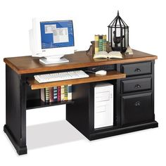 kathy ireland Home by Martin Furniture Southampton Oyster Single pedestal computer desk