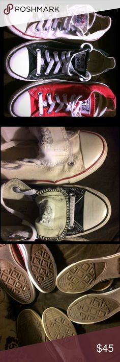 Women's size 8 converse. Black pair & white pair. Only black pair and white pair are available. Both women's size 8. Both are used but in good condition. $45.00 for both. $25.00 for an individual pair. If wanting to buy individually comment and I will create a separate listing. Converse Shoes