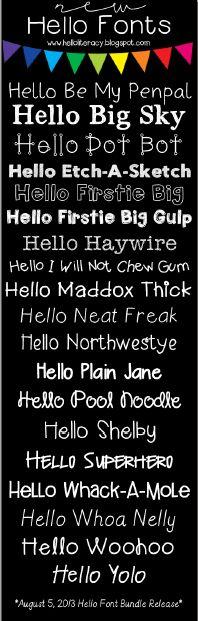 NEW Hello Fonts (20 new fonts added 8-5-13) by Jen Jones-Hello Literacy