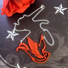 RED SPARROW - Laser Cut Acrylic Necklace.
