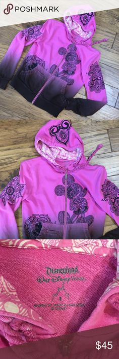 Disney full zip hoodie Great tribal Hawaiian print Mickey Mouse hoodie.  Pink to dark brown/black ombré. Disney Tops Sweatshirts & Hoodies