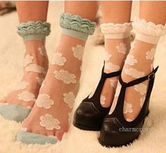 Womens Girls Retro Fashion Lace Socks Mini Floral Flowers Polka Dots Cute Socks