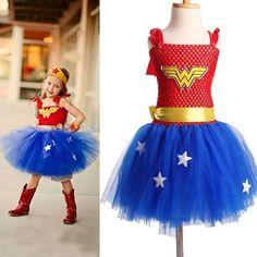 2018 Halloween Children Wonder Woman Chevalier Costume Kids Superman Dresses Girls Cosplay Anime Superman Sets Birthday Dress Home