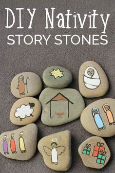 Create your own Nativity Story Stones to help children understand the true meaning of Christmas. These simple stones are easy to make. via Craft DIY Nativity Story Stones Christmas Activities, Christmas Crafts For Kids, Christmas Art, Christmas Projects, Holiday Crafts, Christmas Holidays, Christmas Gifts, Christmas Ornaments, Christmas Makes To Sell