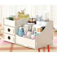 Pixnor Organizador de cosméticos Escritorio de madera multifunción maquillaje ordenado cosméticos joyas caja de almacenamiento caja Rack organizador: Amazon.es: Belleza