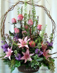 Funeral flowers - is-sit tiegħi Basket Flower Arrangements, Funeral Floral Arrangements, Altar Flowers, Beautiful Flower Arrangements, Silk Flowers, Spring Flowers, Beautiful Flowers, Lavender Flowers, Flowers In Baskets