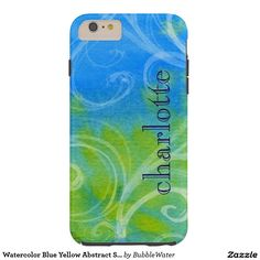 Watercolor Blue Yellow Abstract Swirls Tough iPhone 6 Plus Case