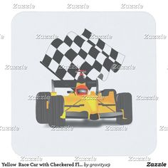 Yellow  Race Car with Checkered Flag Square Paper Coaster - Vroom, Vroom! Jazz up your desk! Yellow Race Car is a real winner! Add background color and choose from several shape options for this drink coaster set. Nice gift for racing fans, fast car fans, man cave and stocking stuffers.  by #Sports4you and Gravityx9 Designs