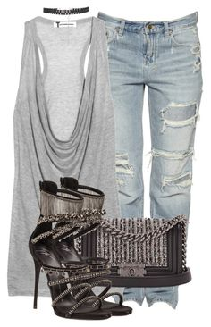 """Untitled #3462"" by xirix ❤ liked on Polyvore featuring T By Alexander Wang, Chanel and Giuseppe Zanotti"