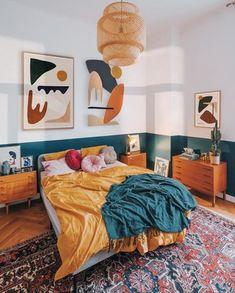 Room Ideas Bedroom, Home Bedroom, Decor Room, Bedroom Interiors, Design Bedroom, Teal Bedroom Decor, Bedroom Yellow, Bed Room, Art For Bedroom