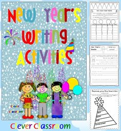 New Year's Writing Activities Worksheets: writing, spelling, genres & grammar   26 page, printable file for grades 3-5.  Includes a color and black and white vocabulary chart which is a great introduction and orientation tool.  Your file aims to give students opportunities to revise reading, spelling, handwriting, genres and grammar whilst learning about New Year's Eve and beyond.  Students should have strong knowledge of the following:syllables, root words, medial soun.... $