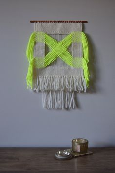 Handmade Woven Wall Hanging. Neon Yellow and Natural Wall Tapestry, Interwoven Crisscrossed Design with Fringe, Medium Size Weaving by MeganRabilDesigns on Etsy