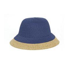 Navy Blue Paper Straw Cloche Downturn Brim Hat