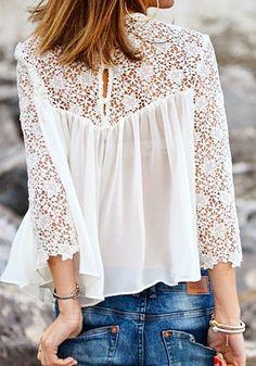 White Patchwork Long Sleeve Dacron Blouse