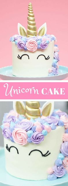 An Easy Funfetti Unicorn Cake Recipe Adorned In Pastel Buttercream And Topped With A Golden Horn