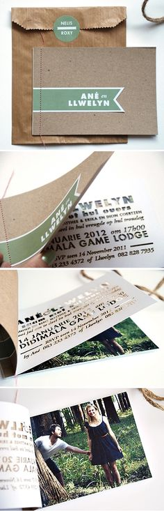 woodsy booklet style wedding invitation by Seven Swans. Love the cut outs and picture idea for an invitation. Wedding Paper, Wedding Cards, Our Wedding, Dream Wedding, Wedding Booklet, Perfect Wedding, Destination Wedding, Invitation Design, Invitation Cards