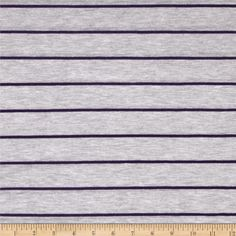 Designer Yarn Dyed Jersey Knit Stripes Purple/Grey from @fabricdotcom  This yarn dyed jersey knit fabric is perfect for T-shirts, tops and more. It has a soft hand and 25% stretch across the grain.