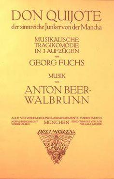 Anton BEER - WALBRUNN. Don Quijote der sinnreiche Junkervon der Mancha. Portada litografiada de la partitura.