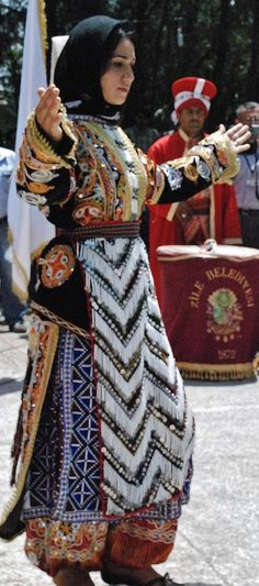 A traditional festive costume of Alevi Türkmen in the Zile district (Tokat province).  These costumes are still in use for religious gatherings, (2010s).