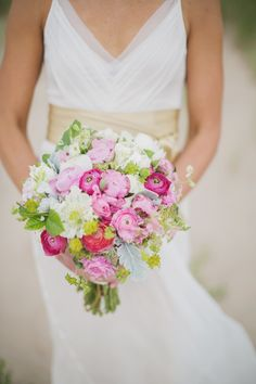 pink white and green bouquet  Read more - http://www.stylemepretty.com/2013/10/30/door-county-brunch-wedding-from-erin-jean-photography/