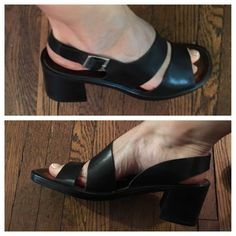 Vintage Chunky Square Heel Black Italian Leather Sandals - Fisherman 80s Shoes…