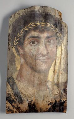 "2nd AD Roman portrait of man from Fayum region, Egypt; pigment and wax (encaustic?) on wood; 40.6 x 22.9 x 0.15 cm (16"" x 9"" x 1/16""). Gift of Emily Crane Chadbourne, 1922.4799"