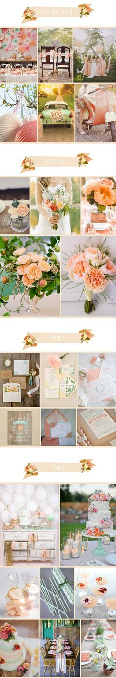 Peach and mint party board.  Mademoiselle Claudine.