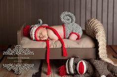 sock monkey infant set