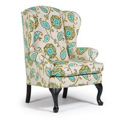 Here's a contemporary twist on a traditional model. The fabric and finish transforms our Sylvia Wing Back | Best Home Furnishings